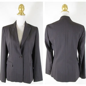 Elie Tahari Brown Wool Pinstripe Blazer Jacket 10